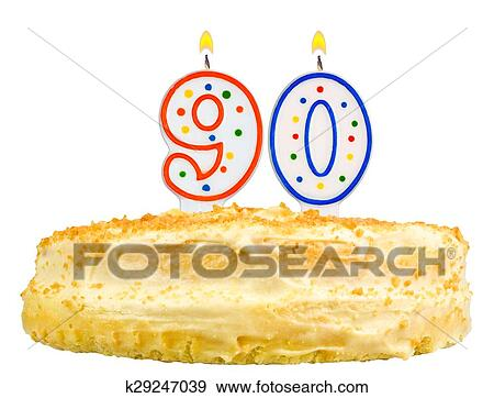 Stock Photograph Of Birthday Cake Candles Number Ninety Isolated