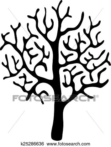 Black Tree Without Leaves Vector Clip Art K25286636