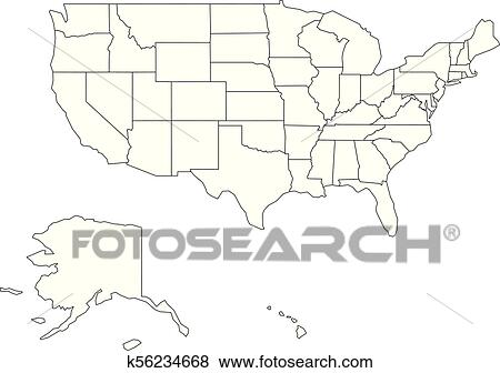 Blank black vector outline map of USA, United States of America Clip Art