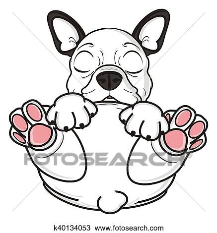 desenho branca buldogue francês filhote cachorro k40134053