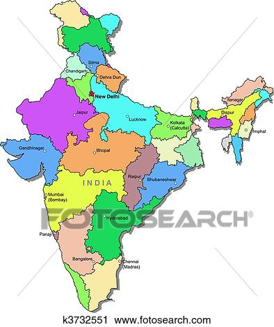 Clipart Of Color India Map K3732551 Search Clip Art Illustration