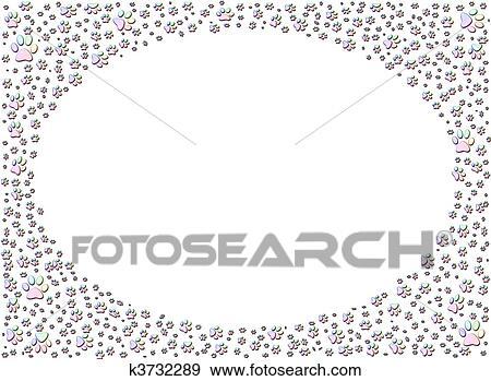 Stock Illustration Of Dog Or Cat Paw Print Paw Prints Frame K3732289