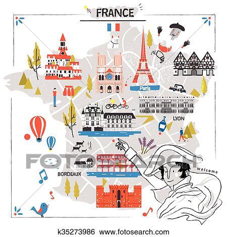 Travel Map Of France.France Travel Map Clip Art K35273986