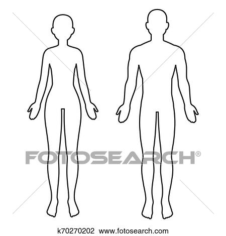 Male And Female Body Outline Clipart K70270202 Fotosearch Silhouette of half body male and female anatomy. male and female body outline clipart