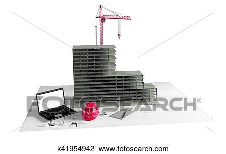House Construction Clip Art : Clip art of model house under construction computer helmet d