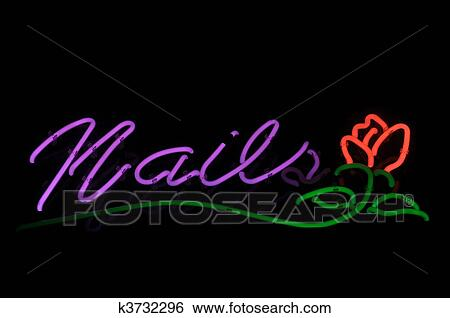Stock Images Of Nails Red Rose Neon Sign K3732296 Search Stock