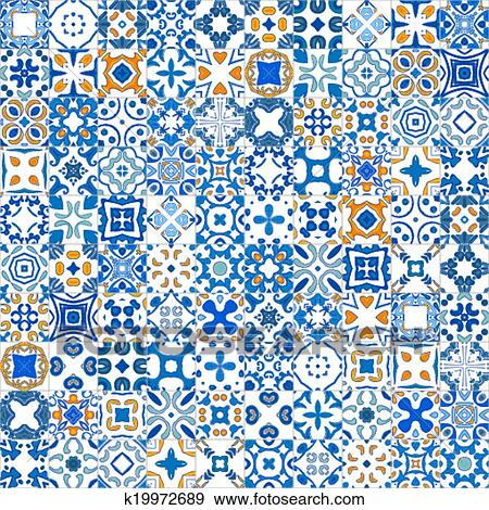 Seamless Pattern Ilration In Traditional Style Like Portuguese Tiles
