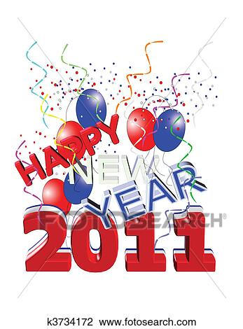 Clipart of red ,white and blue happy new year k3734172 - Search Clip ...