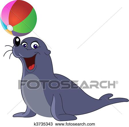 clipart of sea lion k3735343 search clip art illustration murals rh fotosearch com Octopus Clip Art sea lion clip art black and white