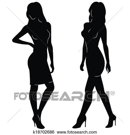Sexy Woman Silhouettes Clip Art K18702686 Fotosearch