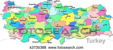 Turkei Landkarte Clip Art K3735388 Fotosearch