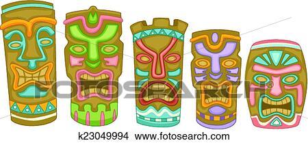 clipart of tiki masks k23049994 search clip art illustration rh fotosearch com free tiki clip art tiki mask clipart