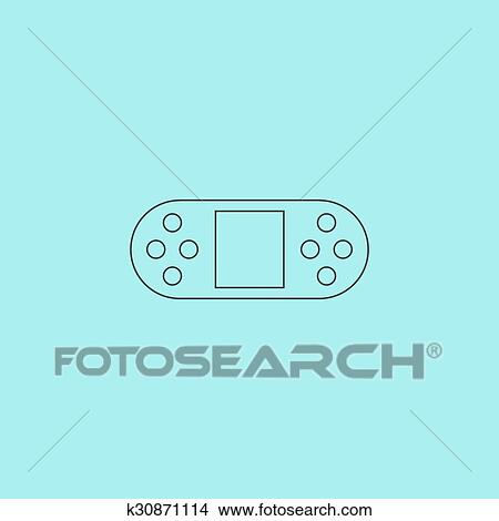 Clipart Of Vector Portable Video Game Console Isolated K - Video game outline