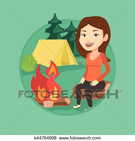 Clip Art Of Woman Sitting On Log Near Campfire In The Camping