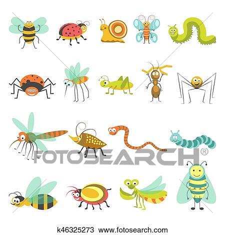 面白い 漫画 昆虫 と 虫 ベクトル 隔離された アイコン クリップ