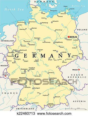 Germania Cartina Fiumi.Germania Politico Mappa Clipart K22460713 Fotosearch