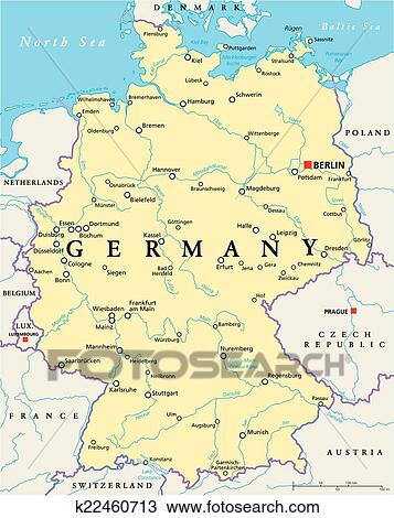 Rivers Of Germany Map.Germany Political Map Clipart K22460713