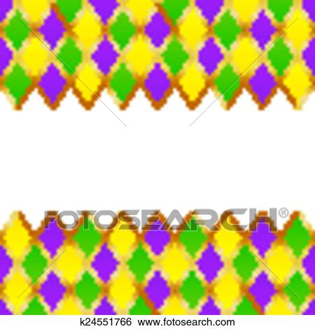 Clip Art of Green, purple, yellow grid Mardi gras frame k24551766 ...