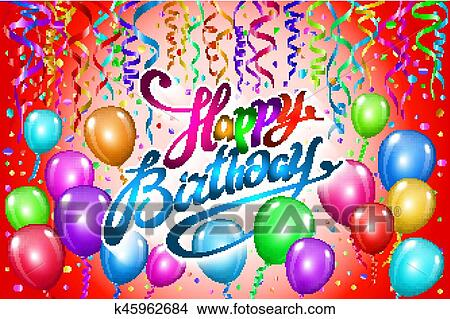 Clipart Of Happy Birthday Typography Vector Design For Greeting