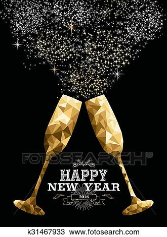 clipart happy new year 2016 toast glass low polygon gold fotosearch search clip
