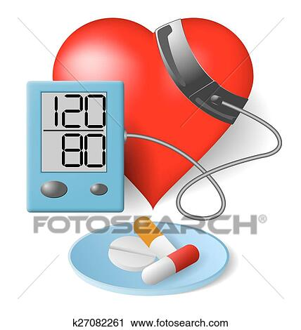 Heart - Blood pressure monitor and pills Clipart..