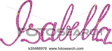 Clip Art Of Isabella Name Lettering Tinsels K35466976 Search