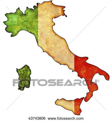 Gammal Karta Italien.Italien Karta Stockillustration K3743806 Fotosearch