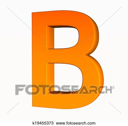 Orange Alphabet Letter B 3d Isolated On White Drawing