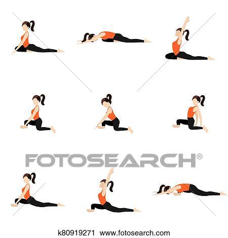 pigeon pose modifications yoga asanas set clipart