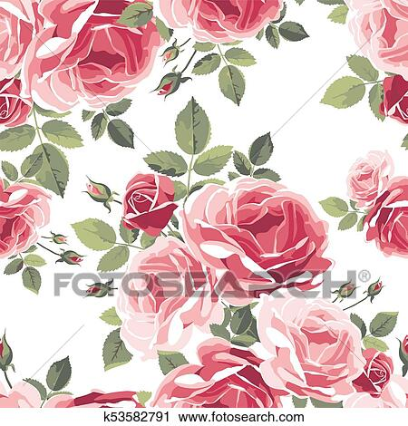 Seamless Pattern With Roses Vintage Floral Background Clipart