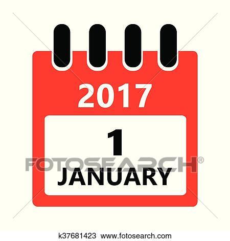 Calendario Icona.1 Gennaio Calendario Icona Clipart