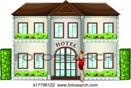 clipart of a hotel attendant standing in front of the hotel rh fotosearch com clipart hotel room clip art hotel building