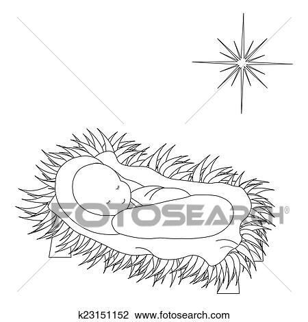 Clipart Of Baby Jesus In The Manger K23151152
