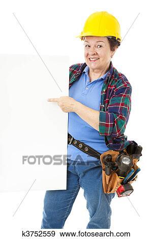 Stock Fotograf Bauarbeiterin Zeichen K3752559 Suche Stock