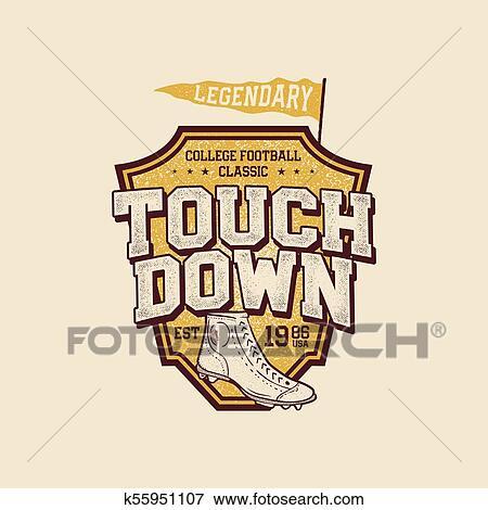 72a2e02ee Retro sports poster. Stock vector Clip Art. Clip Art - Classic college t  shirt design. American football tee graphic design, label