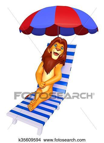 Cute Lion Cartoon Character Beach Chair