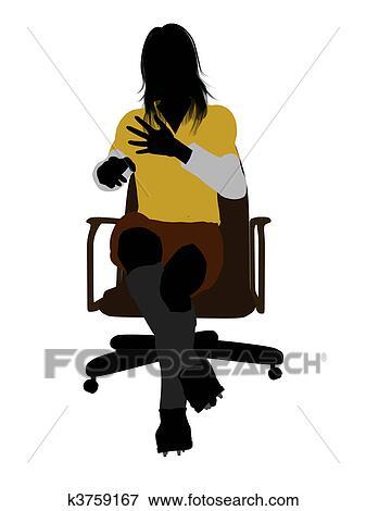 Fussballerin Abbildung Silhouette Stock Illustration