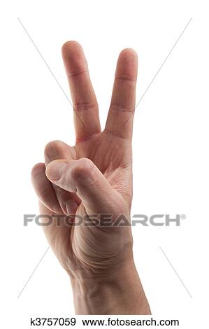 Stock Photograph Of Hand In Business Shirt Making A Peace Sign