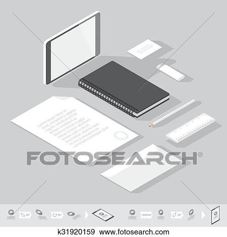 Clip Art - isométrico, identidad corporativa, plantilla k31920159 ...