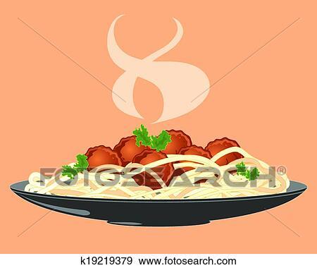 Meatballs and spaghetti Clip Art | k19219379 | Fotosearch