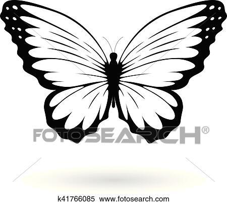 Clipart Nero Farfalla Silhouette Illustrazione K41766085