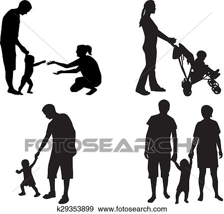 clip art of silhouettes of families k29353899 search clipart rh fotosearch com family clipart circles family clipart
