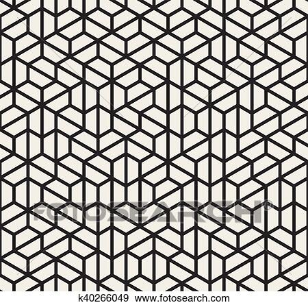 Clip Art Of Vector Seamless Black And White Irregular Hexagonal Grid