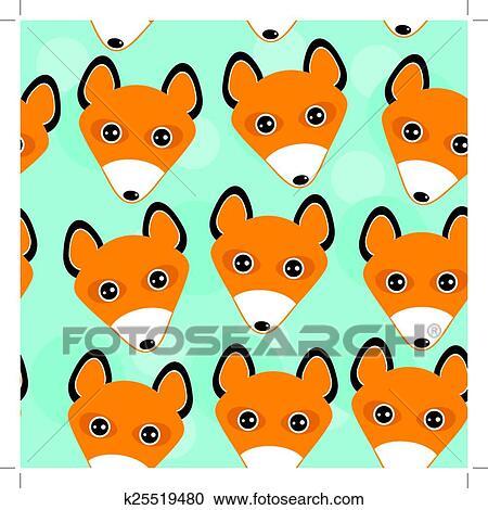 キツネ Seamless パターン で 面白い かわいい 動物顔 上に