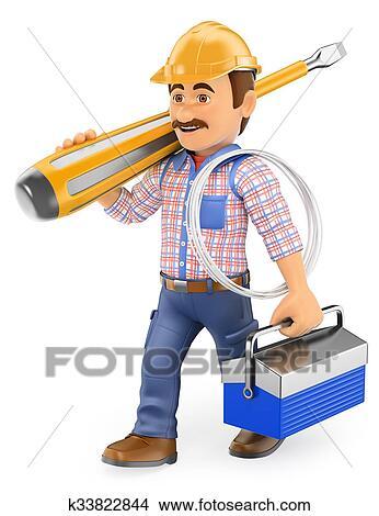Dibujos 3d electricista ambulante con un for Trabajo de electricista en malaga