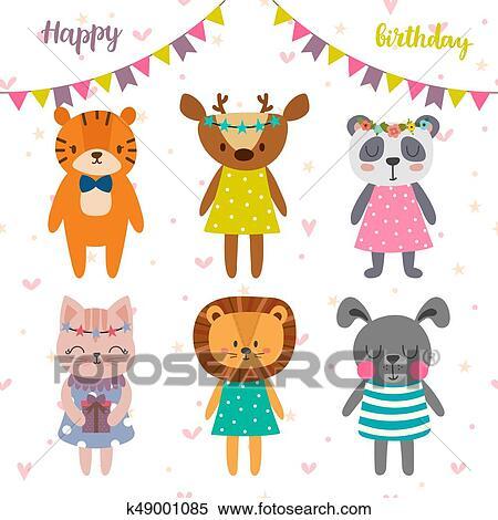 Clipart Buon Compleanno Disegno Con Carino Cartone Animato