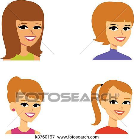 Clip Art Caricatura Avatar Ilustración Del Retrato Mujeres