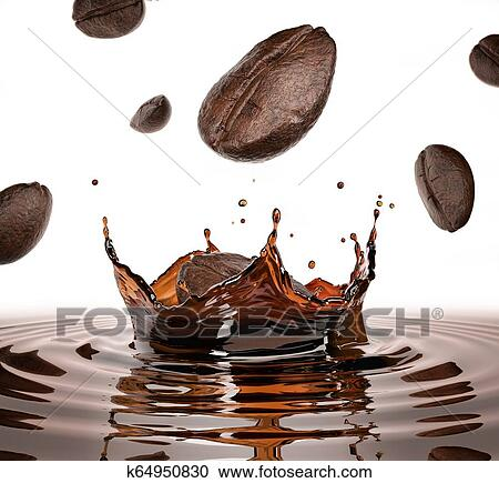 Coffee Beans Falling Splashing In A Pool Of Coffee With