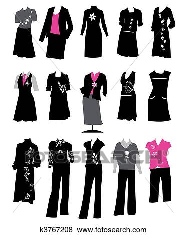 Clip Art Of Collection Of Women S Business Suits Office Style