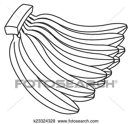 Retro Dozen Bananas Drawing Vector Illustration